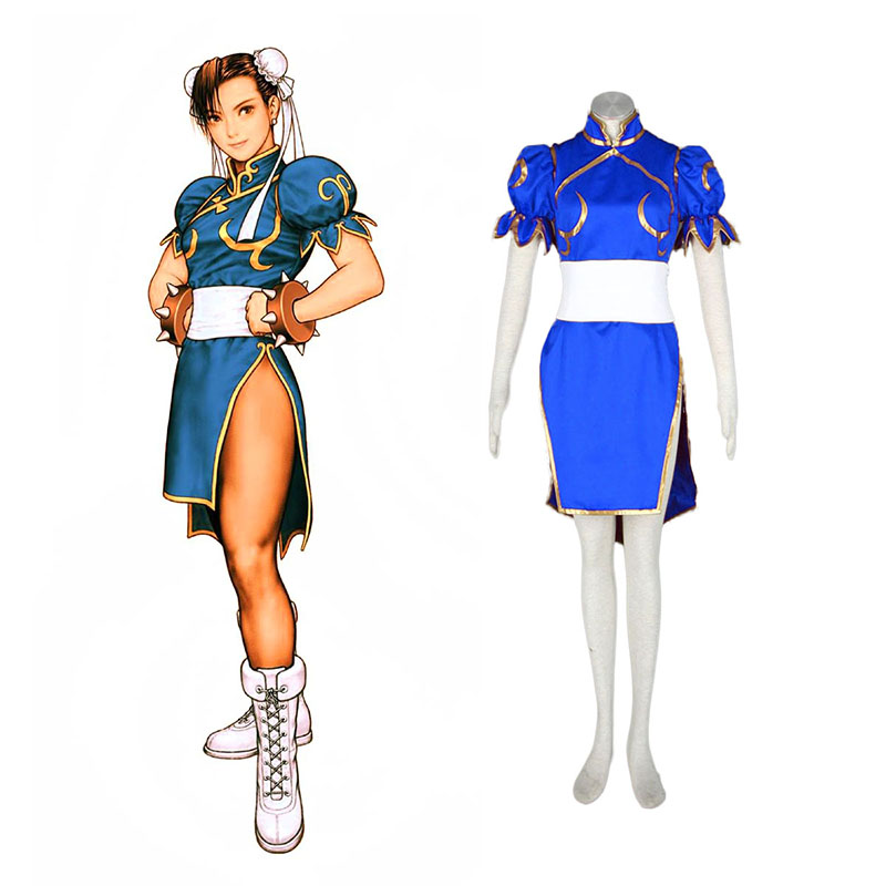 Street Fighter Chun-Li 1 Blue Cosplay Costumes New Zealand Online Store