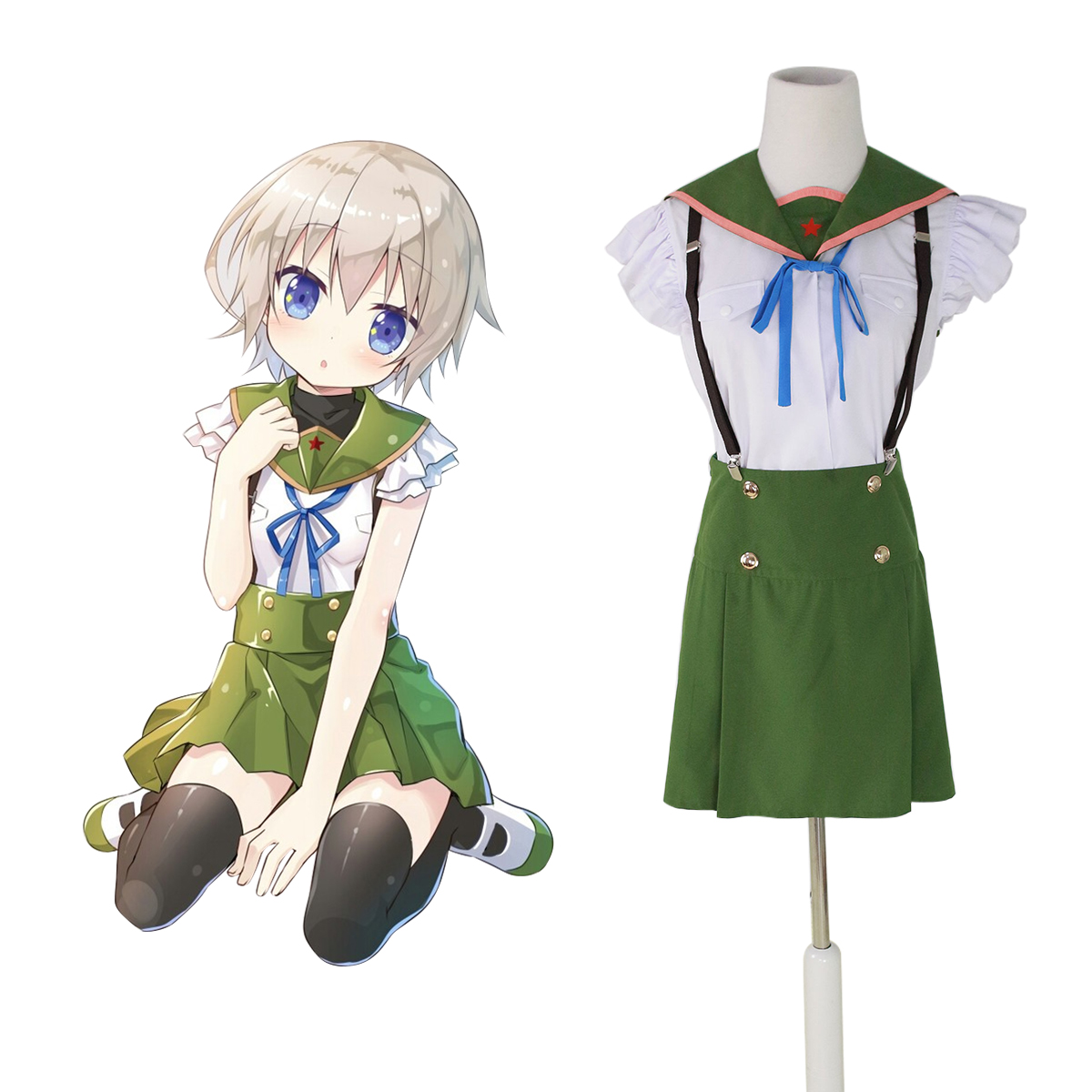 School-Live! Ebisuzawa Kurumi 1 Green Sailor Cosplay Costumes New Zealand Online Store