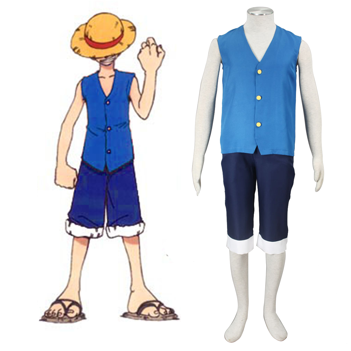 One Piece Monkey D. Luffy 2 Blue Cosplay Costumes New Zealand Online Store