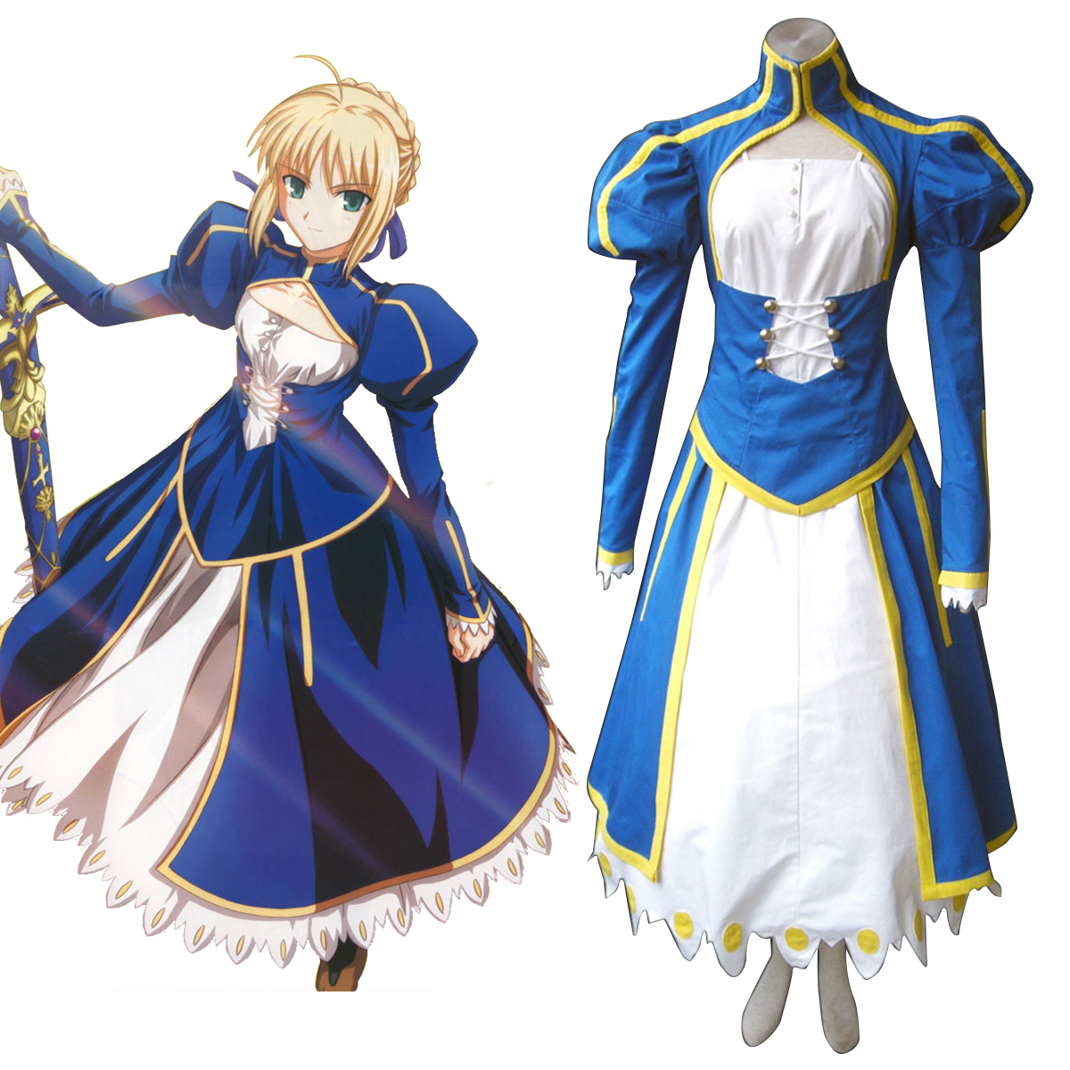 The Holy Grail War Saber 1 Blue Cosplay Costumes New Zealand Online Store