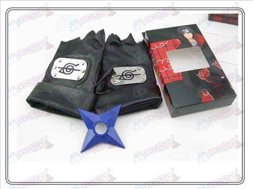 Naruto rebel forbearance gloves + Blue Shuriken (three-piece)