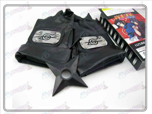 Naruto rebel forbearance gloves + Black Shuriken (three-piece)