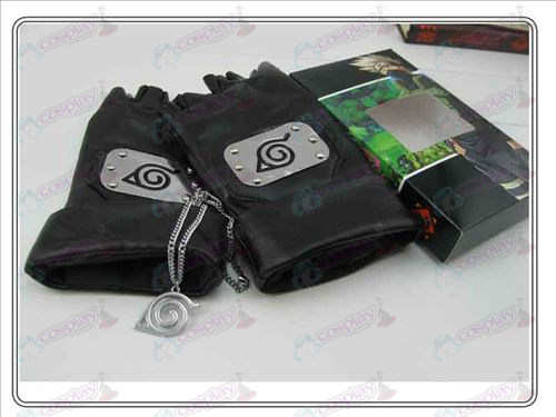 Naruto konoha konoha leather gloves + necklace (three-piece)