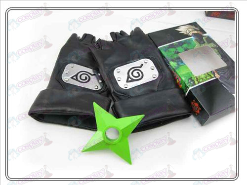Naruto konoha leather gloves + Green shuriken (three-piece)