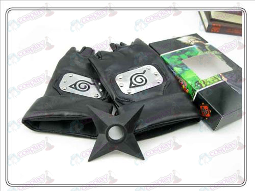 Naruto konoha black leather gloves + Shuriken (three-piece)