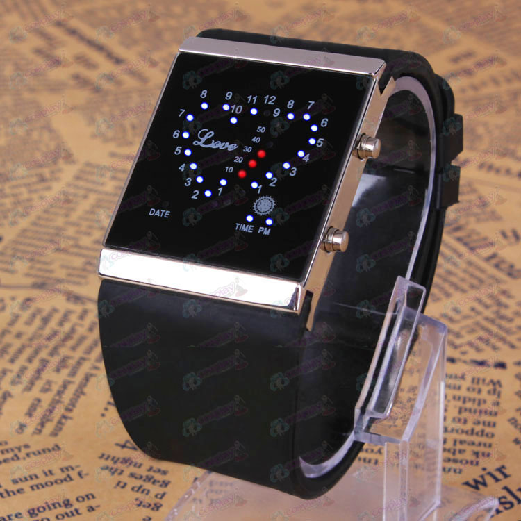 Black Butler Accessories Compact Logo Black Love LED Watch