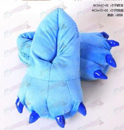 Gloomy plush blue slippers