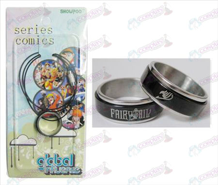 Fairy Tail Accessories Black Steel Ring Necklace transporter - Rope