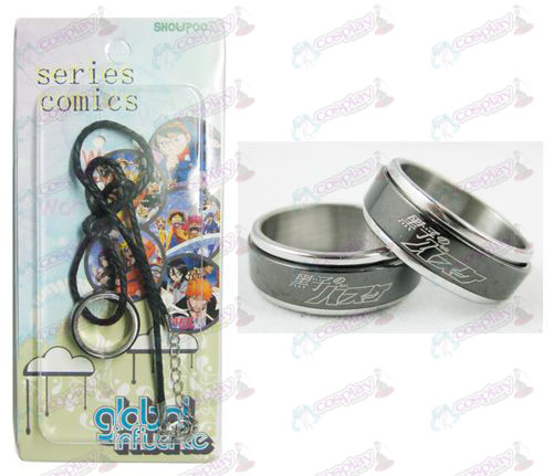 kuroko's Basketball Accessories Black Steel Ring Necklace transporter - Rope