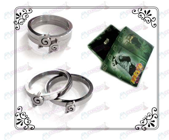 Naruto Konoha stainless steel couple rings