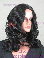 "20"" Black Curly Midpart Cosplay Wig"