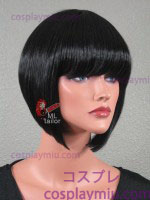 "12"" Black Sloped Bob Cosplay Wig"