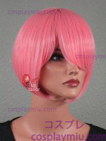 "12"" Cotton Candy Pink Straight Bob Cosplay Wig"