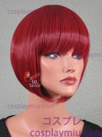 "12"" Dark Red Sloped Bob Cosplay Wig"