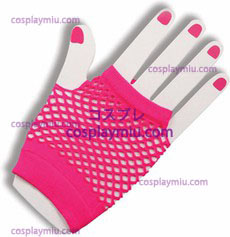 Gloves Fingerless Fishnet Pink