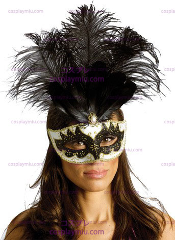 Carnival Mask Big Feather Bk/Sv