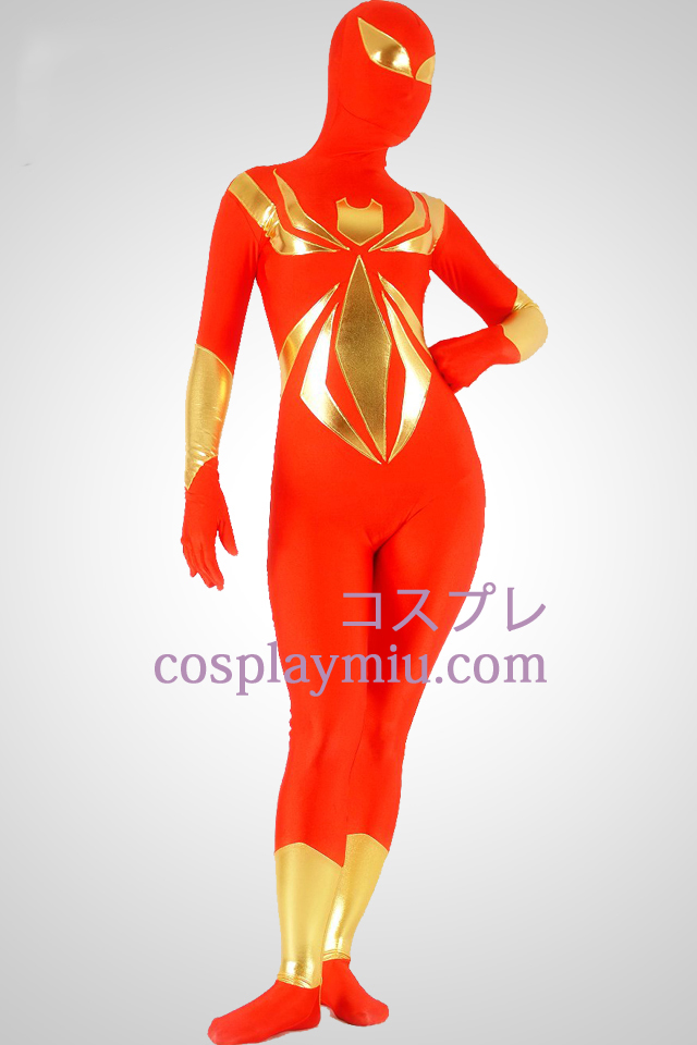 Red And Gold Lycra Spandex Unisex Superhero Zentai Suit
