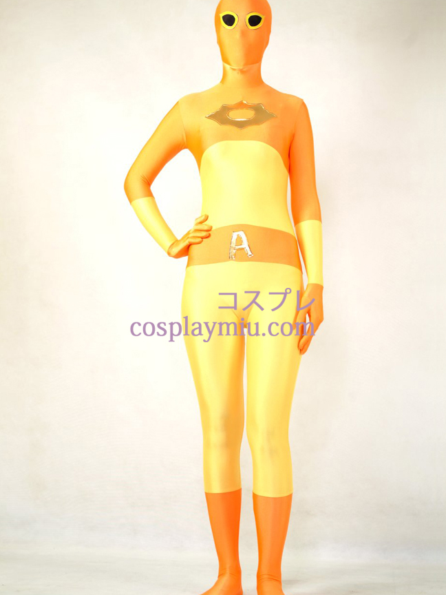 Yellow and Orange Lycra Spandex Zentai Suit