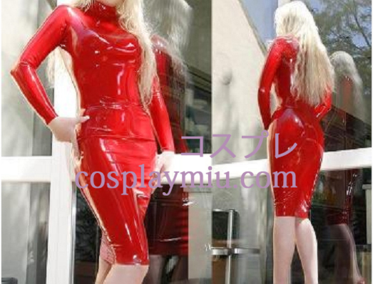 Bold Red Long Sleeves Latex Dress