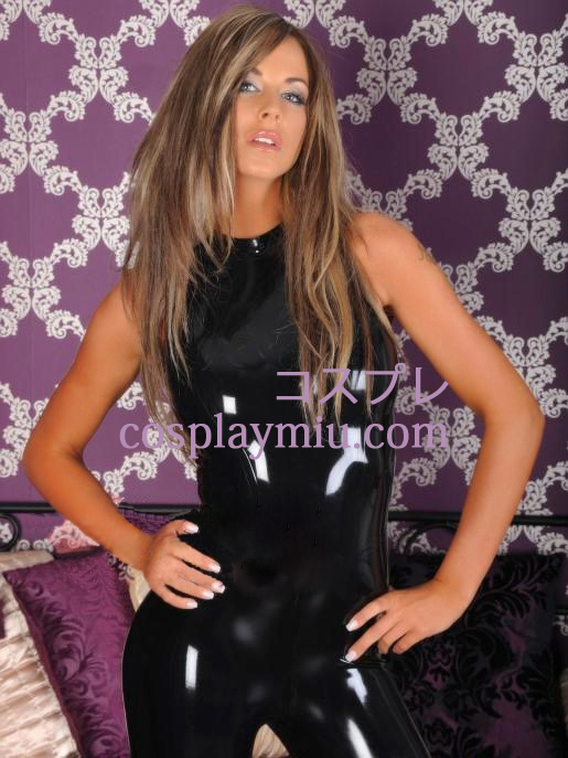 Black Sleeveless Latex Catsuit