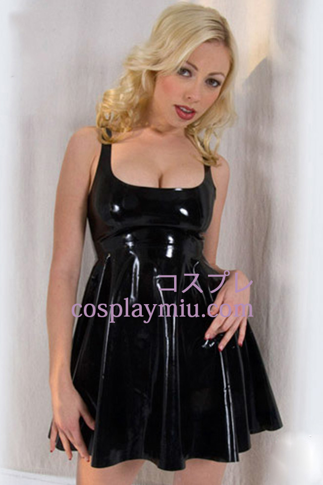 Black Empire Waist Sexy Latex Dress