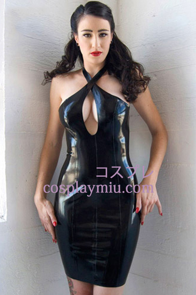 Black Sexy Latex Dress With Halter Neckline