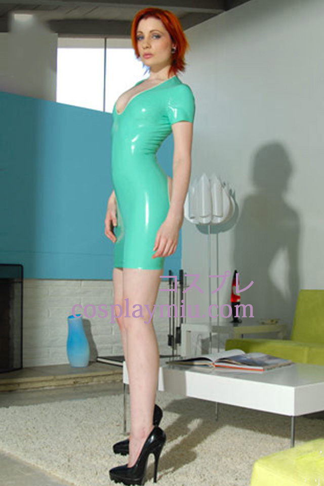Light Green Cap Sleeves Sexy Latex Dress
