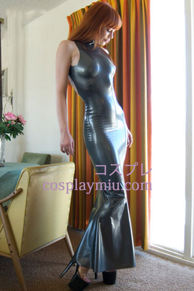 Gray Mermaid Sleeveless Latex Dress