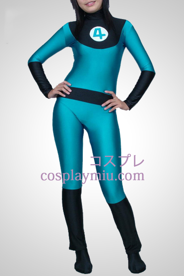Blue And Black Lycra Spandex Unisex Catsuit