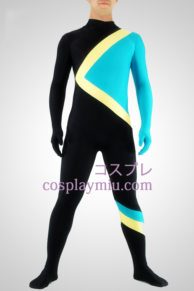 Black Yellow And Blue Lycra Spandex Unisex Catsuit