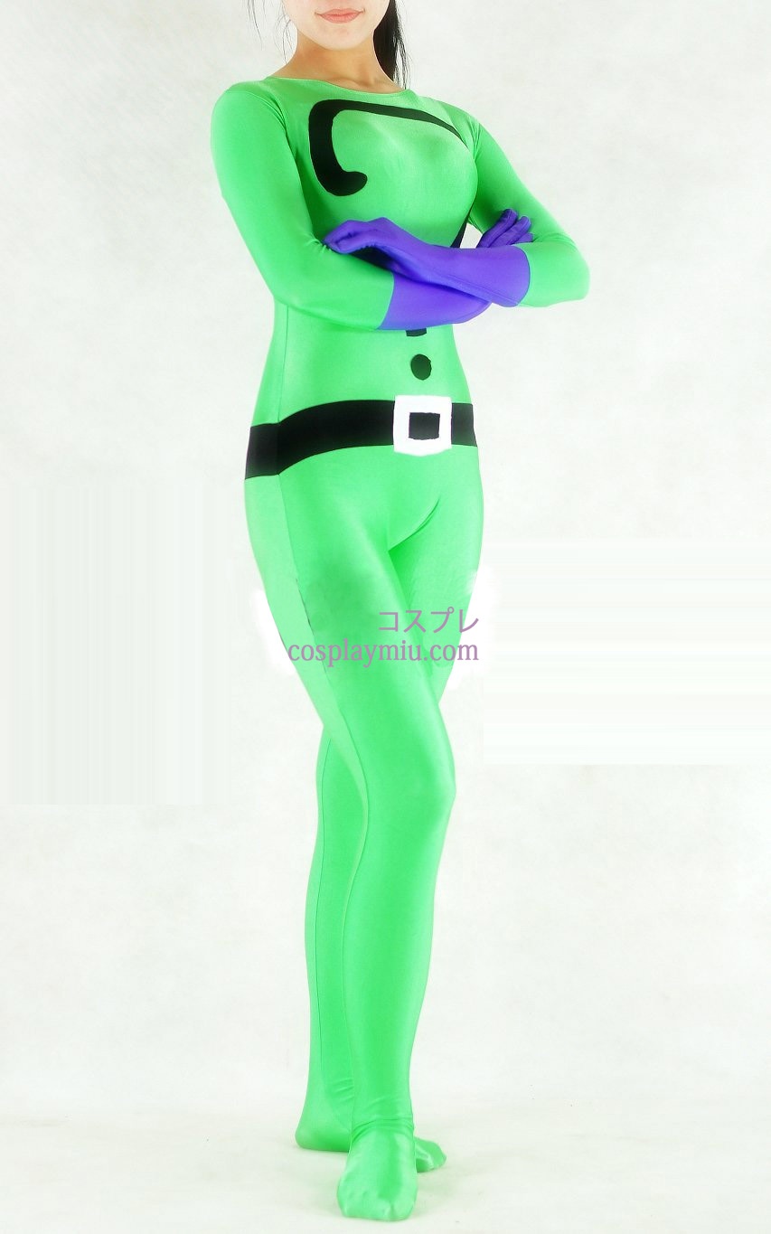 Question Mark Green Lycra Spandex Unisex Zentai Suit