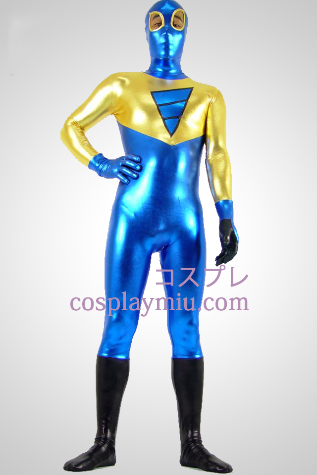 Shiny Metallic Golden Black and Blue Zentai Suit With Eye Open