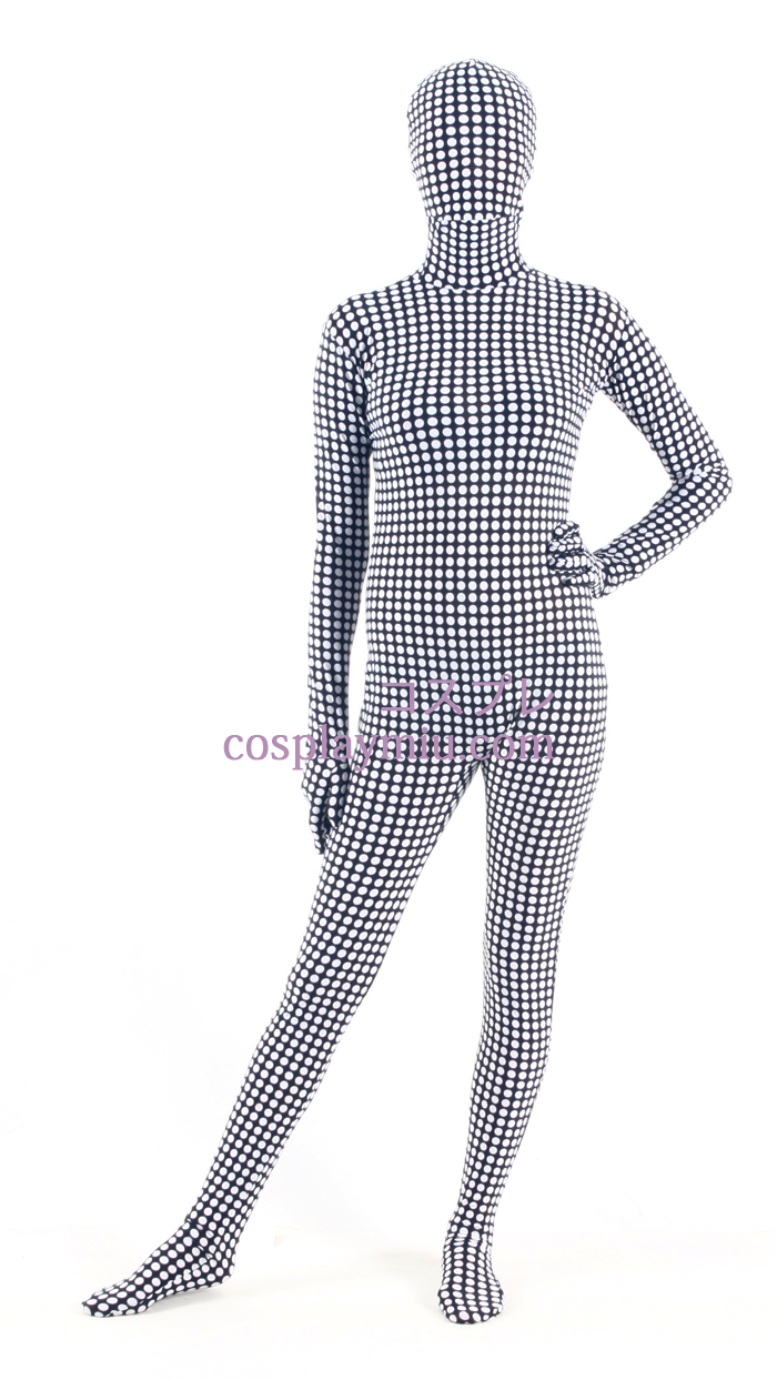 Black White Check Lycra Zentai Suit