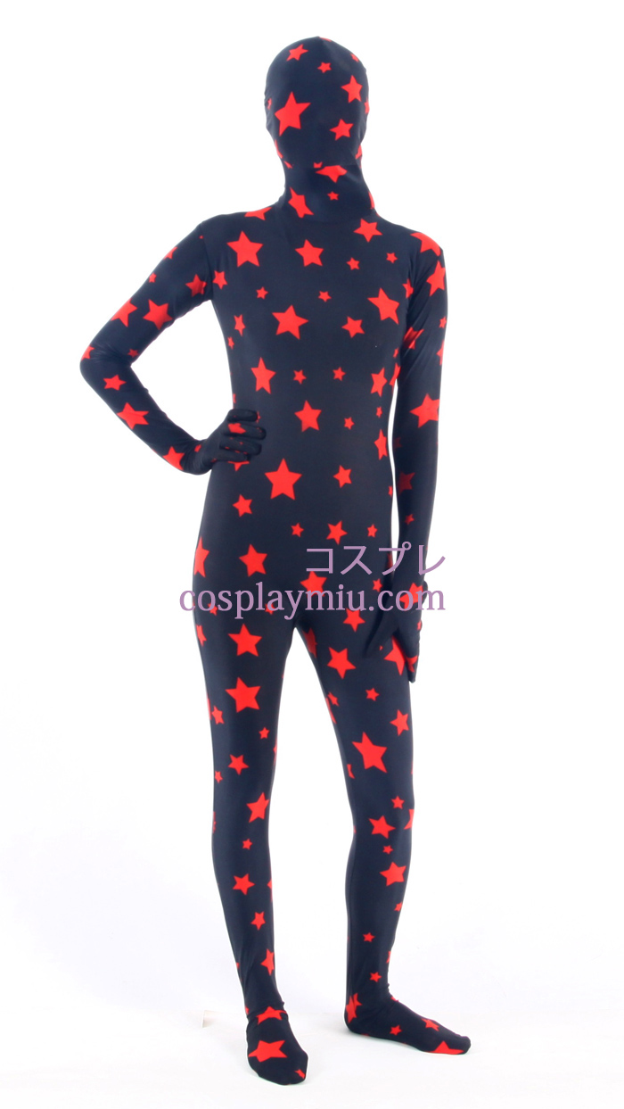 Black Star Pattern Lycra Zentai Suit