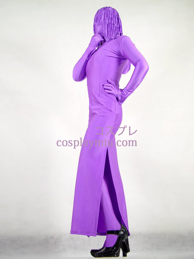 Purple Lycra Spandex Female Zentai With Skirt Style